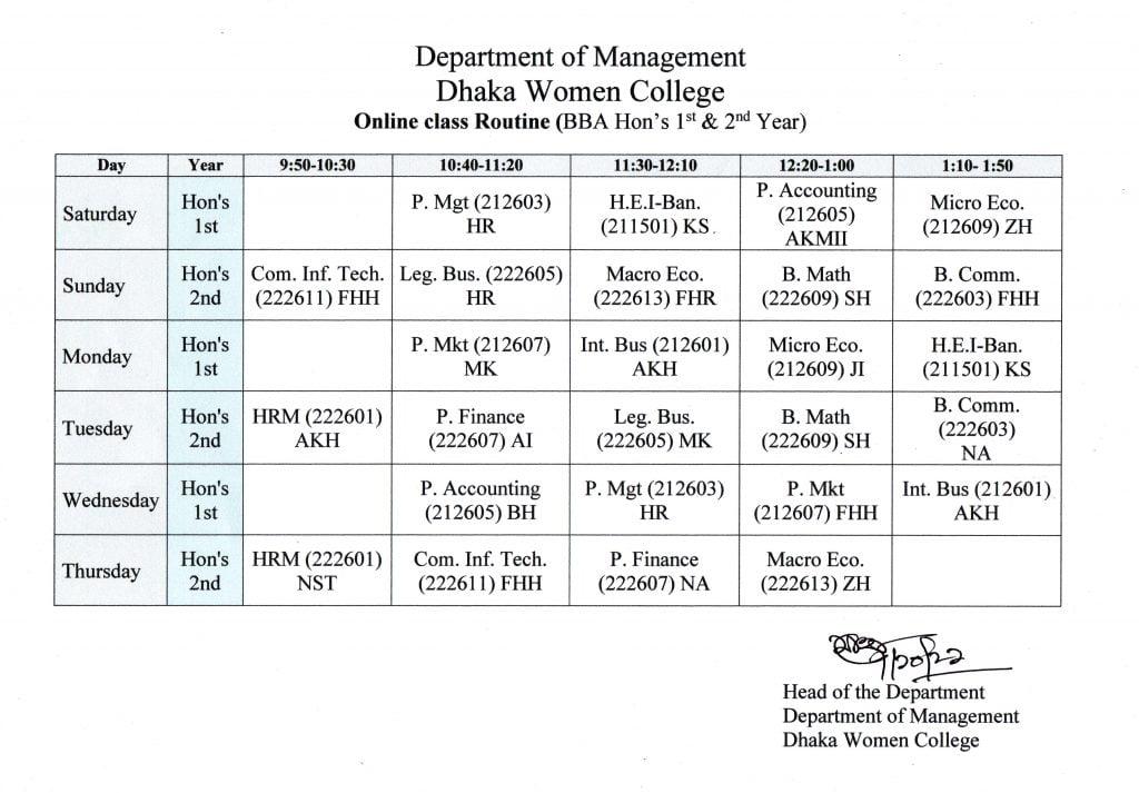 Routine Management 01 ব্যবস্থাপনা বিভাগ